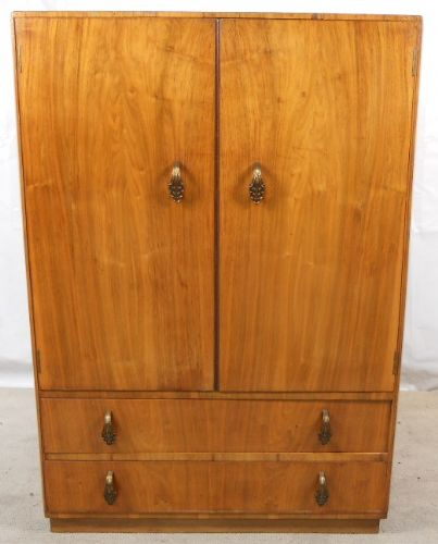 Walnut Two Door Tallboy Storage Cupboard